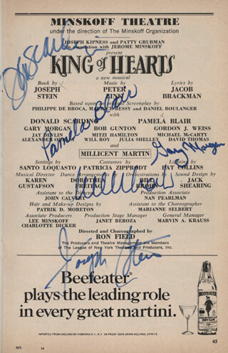 KING OF HEARTS PLAY CAST - SHOW BILL SIGNED CO-SIGNED BY: MILLICENT MARTIN, JOSEPH STEIN, PAMELA BLAIR, GARY MORGAN, DON SCARDINO