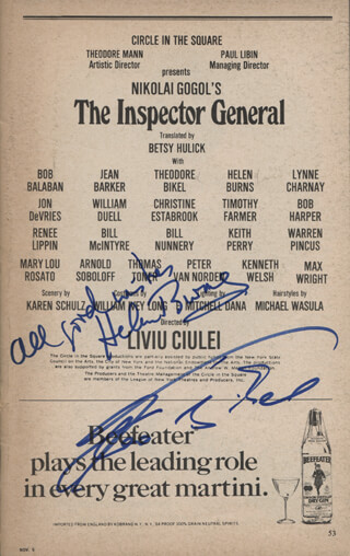 Autographs: THE INSPECTOR GENERAL PLAY CAST - SHOW BILL SIGNED CO-SIGNED BY: THEODORE BIKEL, HELEN BURNS