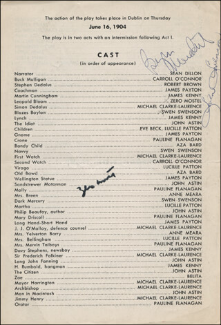 ULYSSES IN NIGHTTOWN BROADWAY CAST - SHOW BILL SIGNED CO-SIGNED BY: BURGESS MEREDITH, ZERO MOSTEL, SWEN SWENSON