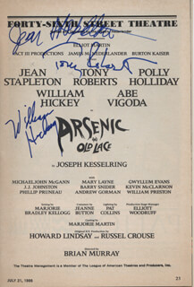 Autographs: ARSENIC AND OLD LACE PLAY CAST - SHOW BILL SIGNED CO-SIGNED BY: TONY (ANTHONY) ROBERTS, JEAN STAPLETON, WILLIAM HICKEY