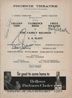 THE FAMILY REUNION PLAY CAST - SHOW BILL SIGNED CO-SIGNED BY: LILLIAN GISH, FRITZ WEAVER, ERIC BERRY