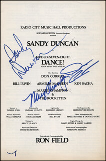FIVE-SIX-SEVEN-EIGHT...DANCE! PLAY CAST - SHOW BILL SIGNED CO-SIGNED BY: SANDY DUNCAN, MARGE CHAMPION, DON CORREIA