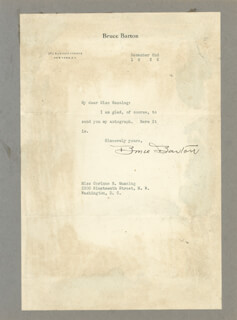 BRUCE BARTON - TYPED LETTER SIGNED 12/02/1935