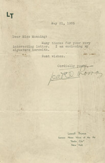 LOWELL THOMAS - TYPED LETTER SIGNED 05/31/1935