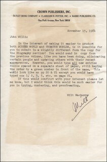 MILT WACKEROW - TYPED LETTER SIGNED 11/15/1984