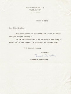 RICHARD BERCZELLER - TYPED LETTER SIGNED 03/25/1965
