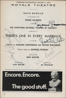 THERE'S ONE IN EVERY MARRIAGE PLAY CAST - SHOW BILL SIGNED CO-SIGNED BY: PAXTON WHITEHEAD, PETER DONAT, SUZANNE GROSSMANN, JACK CRELEY