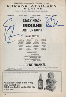 INDIANS PLAY CAST - SHOW BILL SIGNED CO-SIGNED BY: STACY KEACH, KEVIN CONWAY