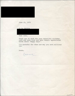 IRENE WORTH - TYPED LETTER SIGNED 06/21/1979