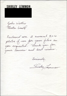 SHIRLEY LEMMON - AUTOGRAPH NOTE SIGNED