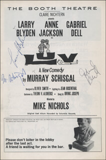 LUV PLAY CAST - SHOW BILL SIGNED CO-SIGNED BY: GABRIEL DELL, LARRY BLYDEN, MURRAY SCHISGAL