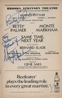 SAME TIME, NEXT YEAR PLAY CAST - SHOW BILL SIGNED CO-SIGNED BY: BETSY PALMER, MONTE MARKHAM