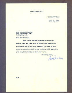 DAVID LAWRENCE - TYPED LETTER SIGNED 04/15/1968