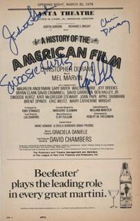 A HISTORY OF THE AMERICAN FILM PLAY CAST - SHOW BILL SIGNED CO-SIGNED BY: SWOOSIE KURTZ, CHRISTOPHER DURANG, APRIL SHAWHAN, JUDITH GORDON