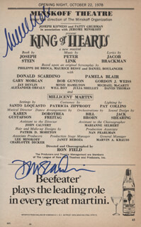 KING OF HEARTS PLAY CAST - SHOW BILL SIGNED CO-SIGNED BY: MILLICENT MARTIN, DON SCARDINO