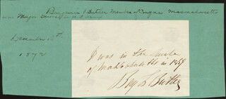 Autographs: MAJOR GENERAL BENJAMIN F. BUTLER - AUTOGRAPH NOTE SIGNED
