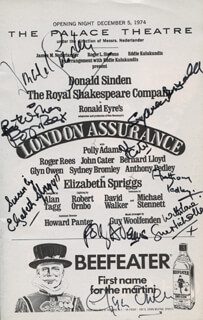 Autographs: LONDON ASSURANCE PLAY CAST - SHOW BILL SIGNED CO-SIGNED BY: ROGER REES, DONALD SINDEN, SUE NICHOLLS, JOHN CATER, ELIZABETH SPRIGGS, GLYN OWEN, POLLY ADAMS, SYDNEY BROMLEY, ANTHONY PEDLEY