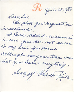 CHARLES RULE - AUTOGRAPH LETTER SIGNED 04/12/1986