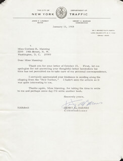 HENRY A. BARNES - TYPED LETTER SIGNED 01/11/1968