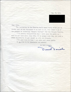 DAVID DANIELS - TYPED LETTER SIGNED 05/22/1972