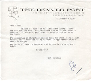 ROBERT BOB DOWNING - TYPED LETTER SIGNED 12/27/1970