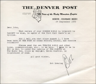 ROBERT BOB DOWNING - TYPED LETTER SIGNED 09/24/1970