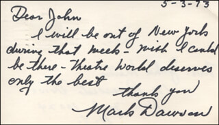 MARK DAWSON - AUTOGRAPH LETTER SIGNED 05/03/1973