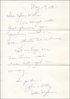 ABBY LEWIS - AUTOGRAPH LETTER SIGNED 05/17/1981