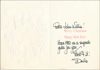 DAVID HOLLIDAY - AUTOGRAPH NOTE ON CHRISTMAS / HOLIDAY CARD SIGNED CIRCA 1980