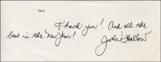 JOHN HALLOW - AUTOGRAPH NOTE SIGNED