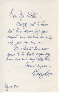 EMORY BASS - AUTOGRAPH LETTER SIGNED 05/15/1974