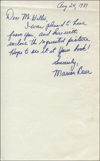 MARIAN BAER - AUTOGRAPH LETTER SIGNED 08/24/1981