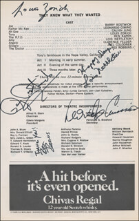 THEY KNEW WHAT THEY WANTED PLAY CAST - SHOW BILL SIGNED CO-SIGNED BY: BARRY BOSTWICK, REX ROBBINS, LOIS NETTLETON, LOUIS ZORICH, LEONARDO CIMINO