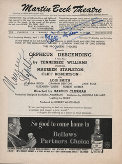 ORPHEUS DESCENDING BROADWAY CAST - SHOW BILL SIGNED CO-SIGNED BY: CLIFF ROBERTSON, MAUREEN STAPLETON