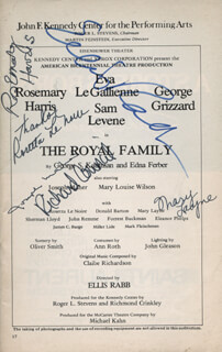 THE ROYAL FAMILY PLAY CAST - SHOW BILL SIGNED CO-SIGNED BY: ROSEMARY HARRIS, ROSETTA LE NOIRE, MARY LAYNE, ELLIS RABB, JOSEPH MAHER, RICHARD COUNCIL