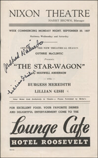 THE STAR-WAGON PLAY CAST - SHOW BILL COVER SIGNED CO-SIGNED BY: MILDRED NATWICK, LILLIAN GISH