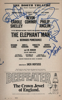 THE ELEPHANT MAN PLAY CAST - SHOW BILL SIGNED CO-SIGNED BY: KEVIN CONWAY, CAROLE SHELLEY, PHILIP ANGLIM, DAVID HEISS