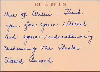 OLGA BELLIN ROEBLING - AUTOGRAPH NOTE SIGNED