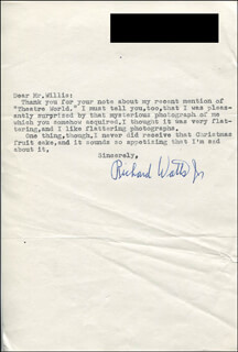 RICHARD DICK WATTS JR. - TYPED LETTER SIGNED 01/26/1970