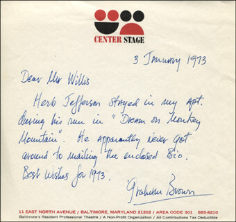 GRAHAM BROWN - AUTOGRAPH LETTER SIGNED 01/03/1973