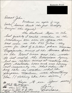 Autographs: BARBARA ATLEE - AUTOGRAPH LETTER SIGNED