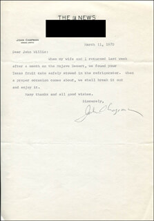 Autographs: JOHN CHAPMAN - TYPED LETTER SIGNED 03/11/1970