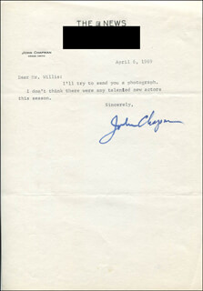 Autographs: JOHN CHAPMAN - TYPED NOTE SIGNED 04/06/1969