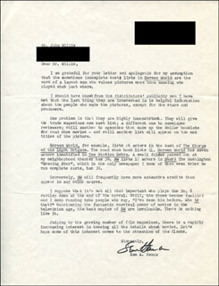 SAM A. HANNA - TYPED LETTER SIGNED 10/21/1969