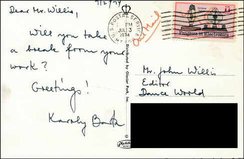 KAROLY BARTA - AUTOGRAPH NOTE SIGNED 07/02/1974