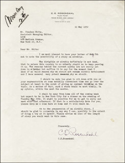 VICE ADMIRAL CHARLES E. ROSENDAHL - TYPED LETTER SIGNED 05/10/1952