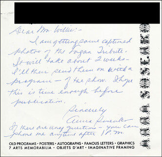 ANNA SOSENKO - AUTOGRAPH LETTER SIGNED