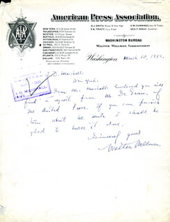 WALTER WELLMAN - AUTOGRAPH LETTER SIGNED 03/10/1892