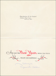 RAYMOND ALLEN - CHRISTMAS / HOLIDAY CARD SIGNED