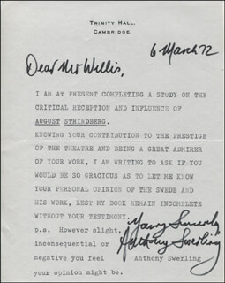 ANTHONY SWERLING - TYPED LETTER SIGNED 03/06/1972